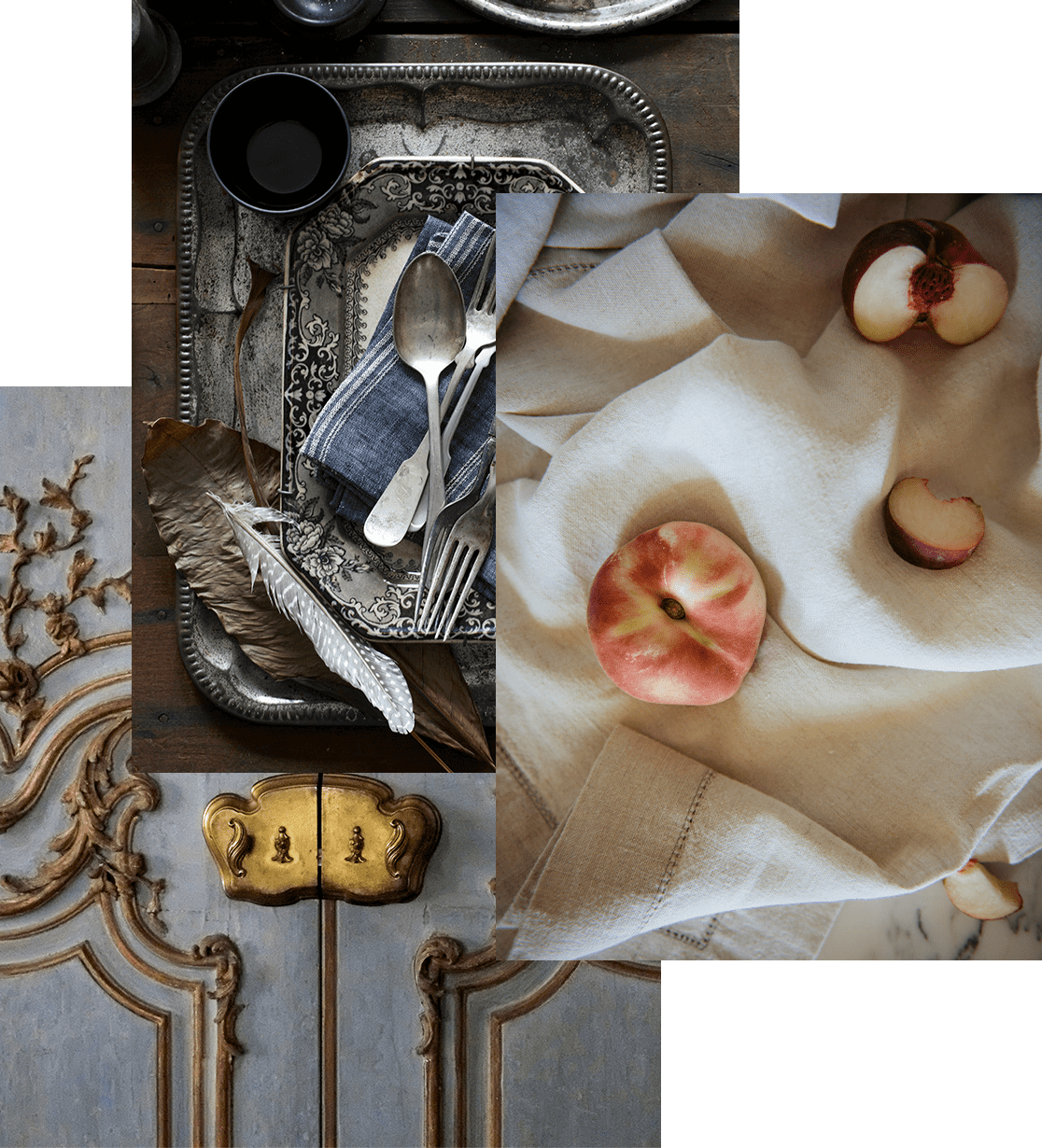 Collage of antique door, silverware, and linens